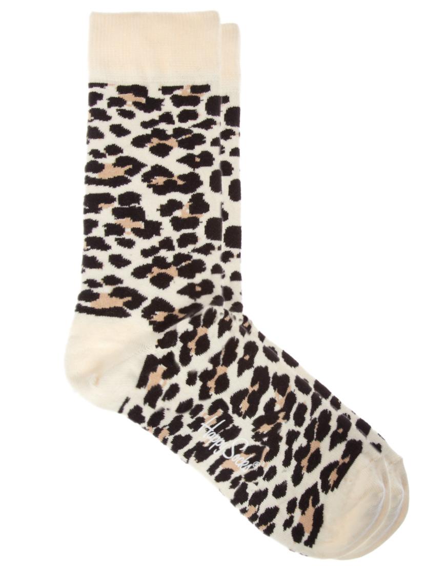 Happy Socks Leopard Print Socks In Black For Men Lyst