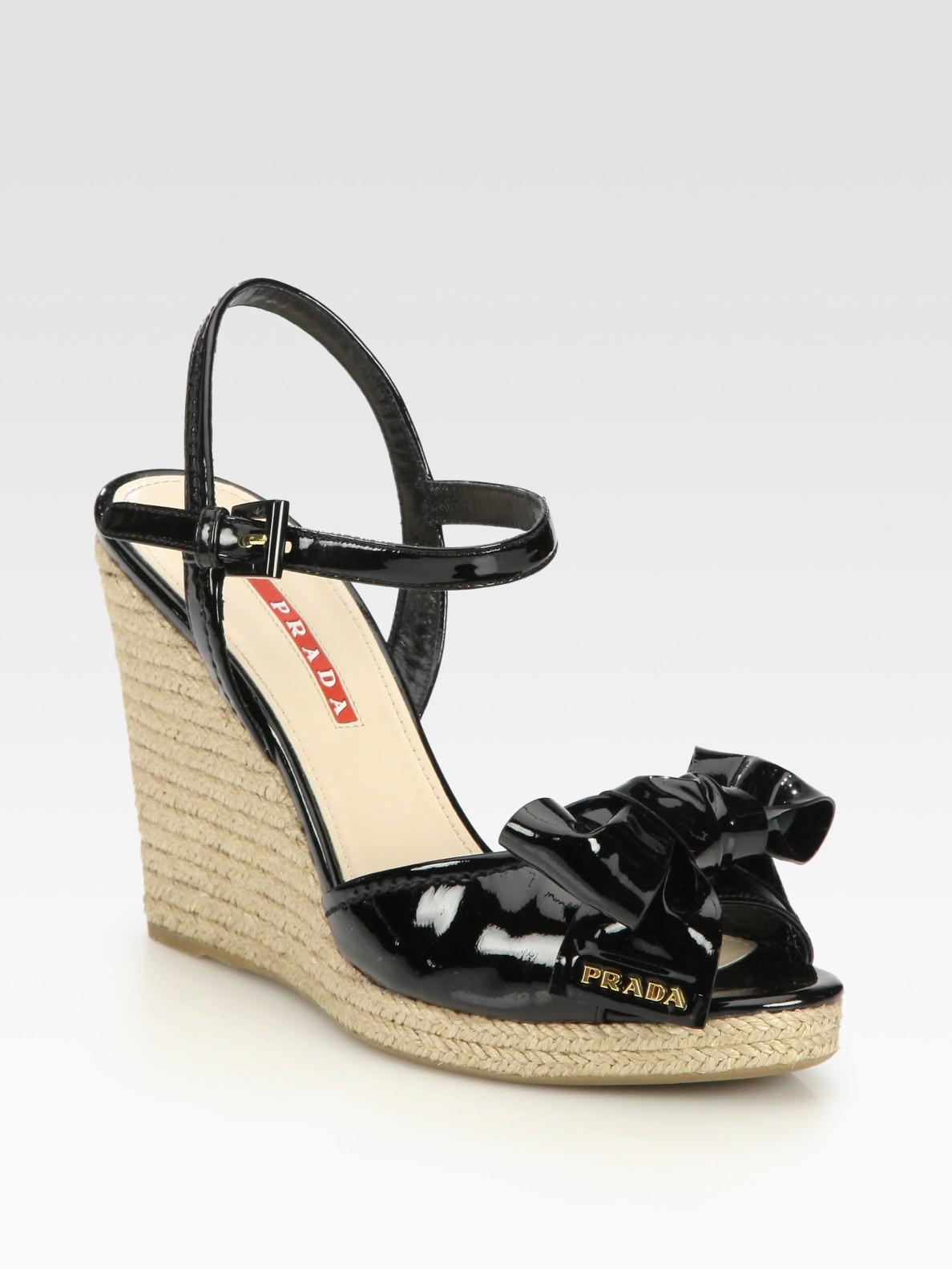787a5070c6b3 Lyst - Prada Patent Leather Espadrille Wedge Sandals in Black