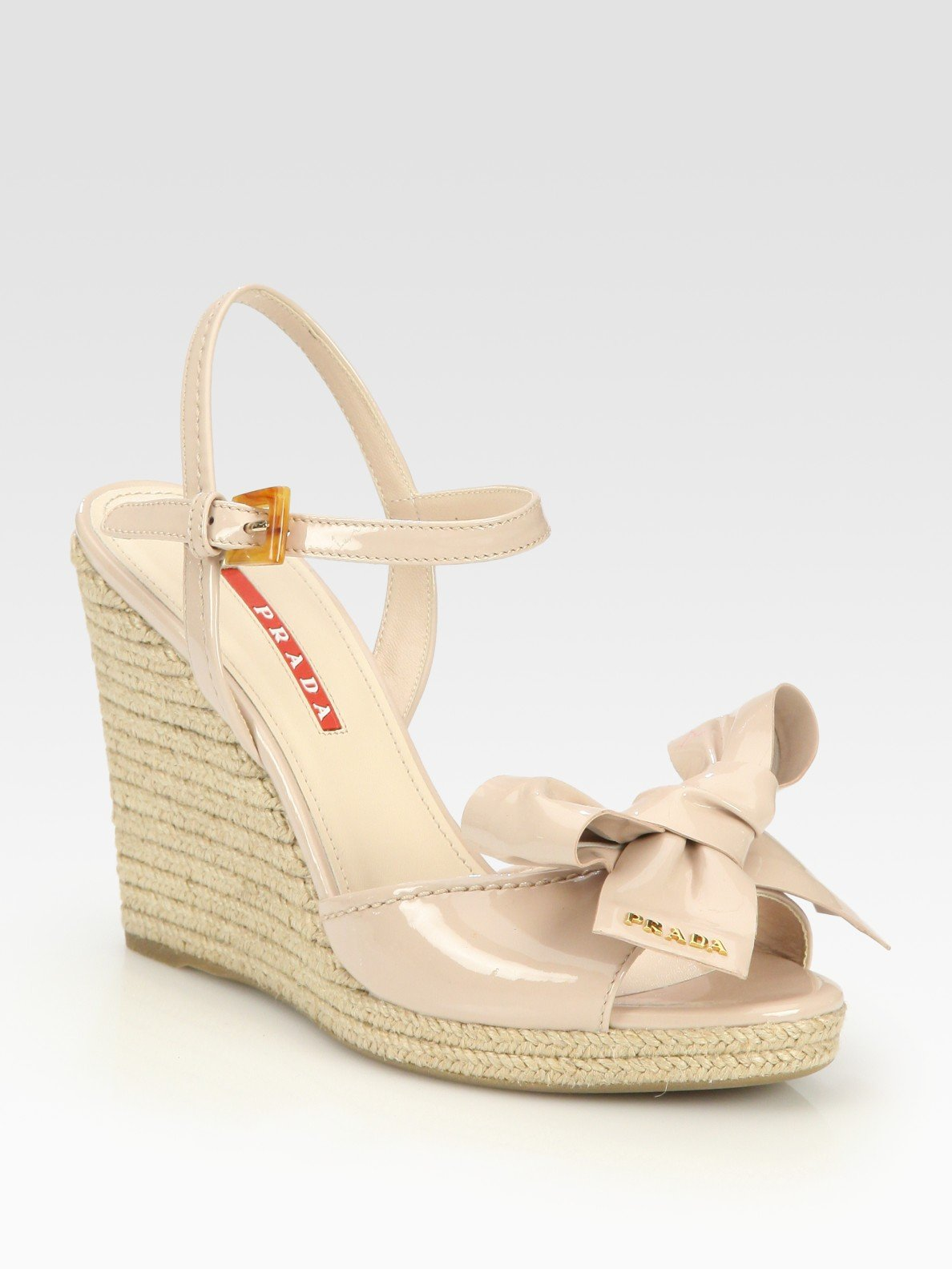 f60716de09ad54 Lyst - Prada Patent Leather Espadrille Wedge Sandals in Natural