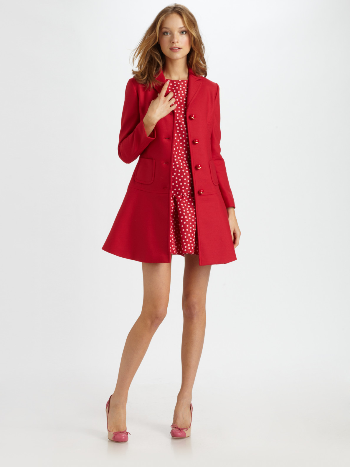 8ab5403c2928 RED Valentino Red Cotton-wool Bow Coat