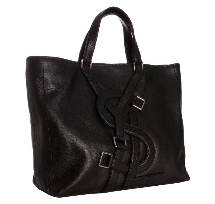 Saint laurent Black Leather Vavin Logo Buckle Large Tote in Black ...