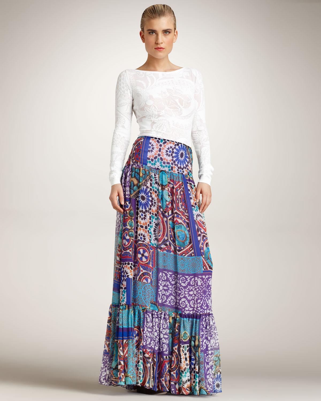 Blumarine Printed Maxi Skirt | Lyst