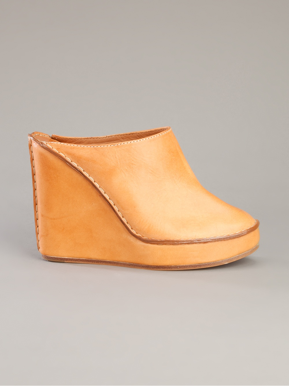 Chlo 233 Leather Wedge Mules In Brown Tan Lyst