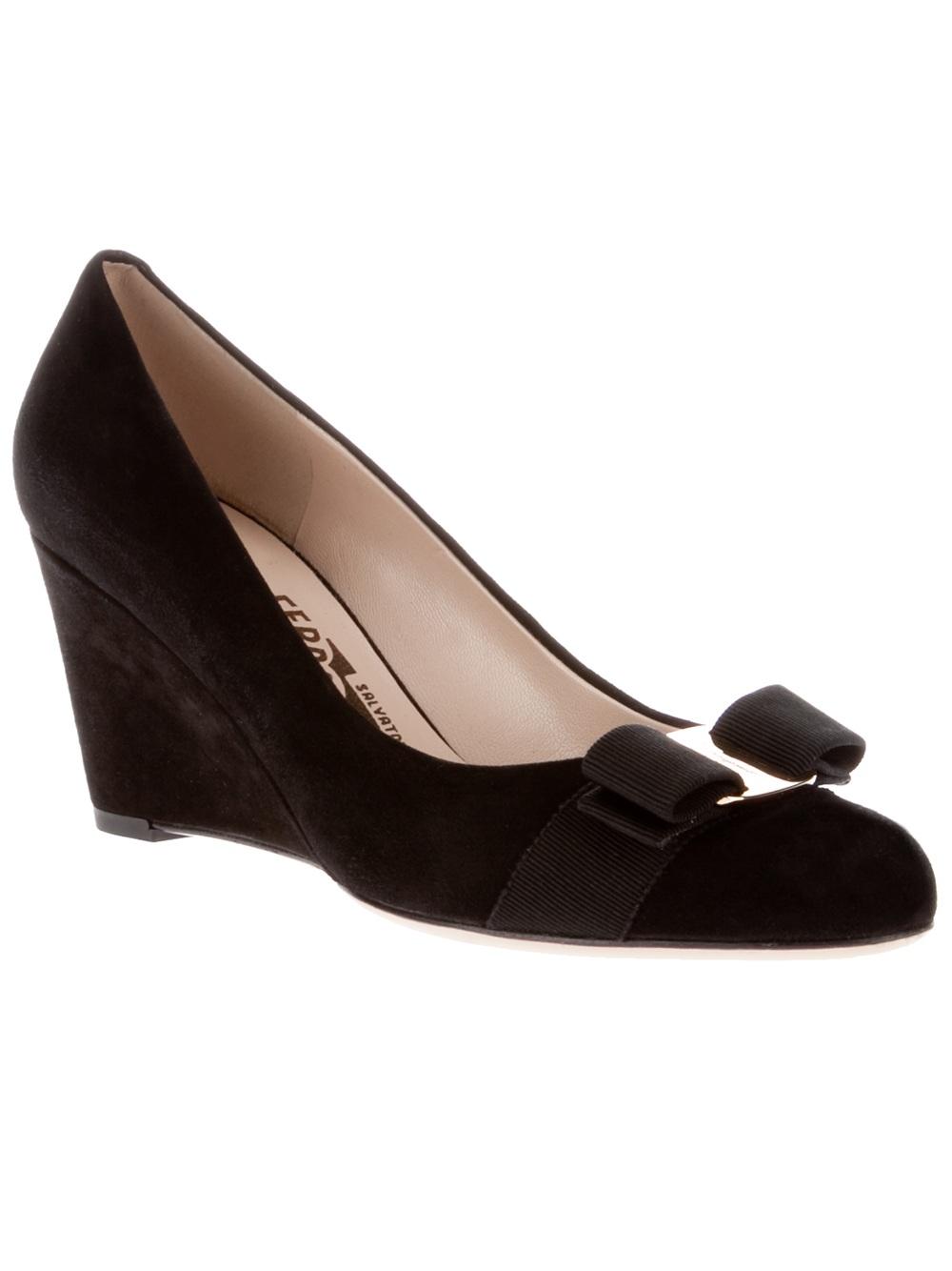Ferragamo Leather Wedge In Black Lyst