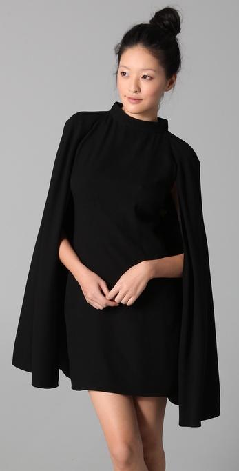 L A M B Embellished Crepe Cape Dress In Black Lyst