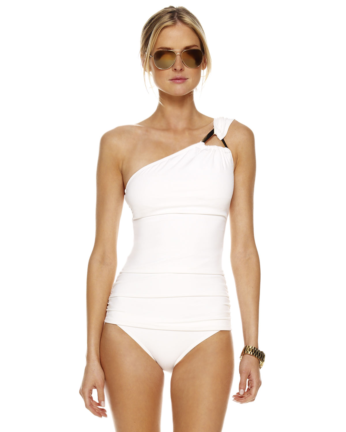 Michael Kors Untamed Solids Tankini In White Lyst