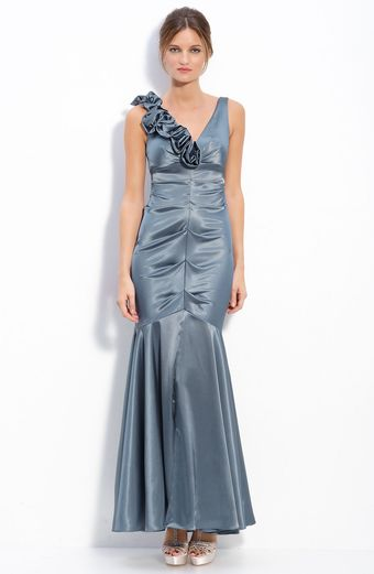 Xscape Floral Ruffle Stretch Satin Ruched Mermaid Gown - Lyst