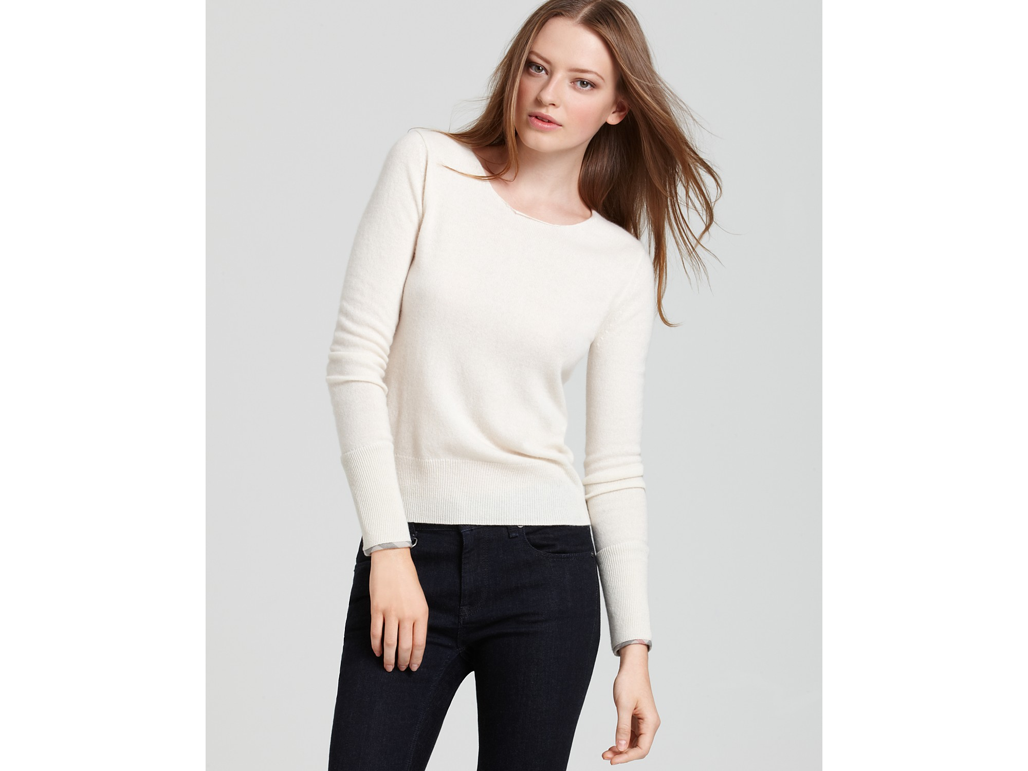 Ash Burberry Brit Cashmere Crewneck Sweater in Natural | Lyst