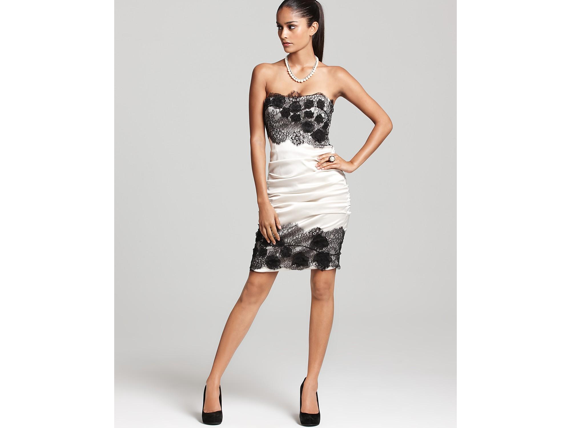 Bcbgmaxazria Natalya Strapless Lace Trim Dress In Black Lyst