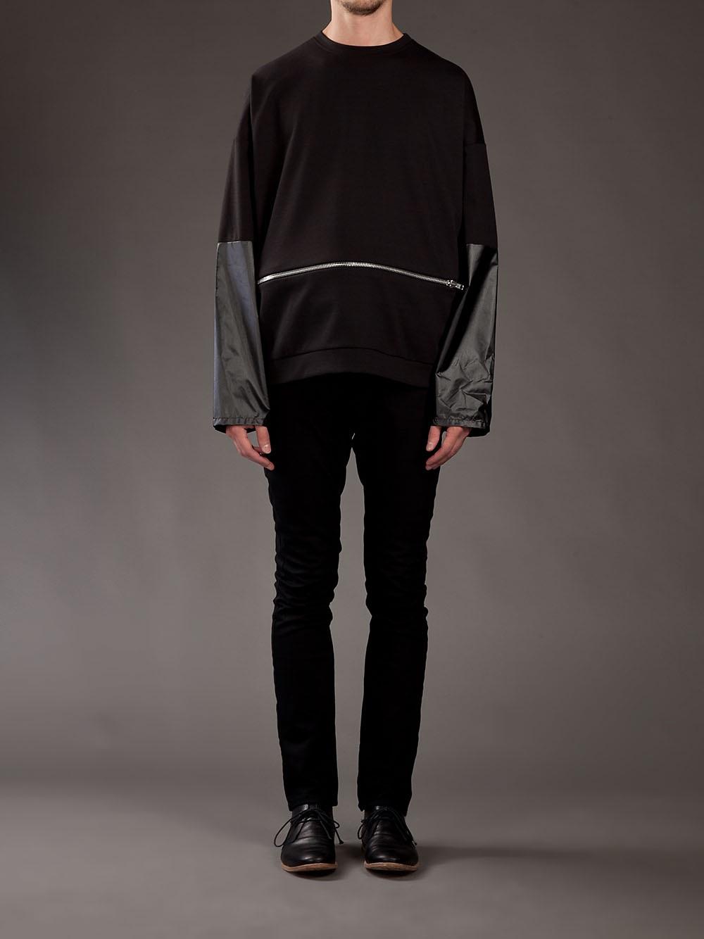 Berthold Extendable Zip Panel Sweater in Black for Men