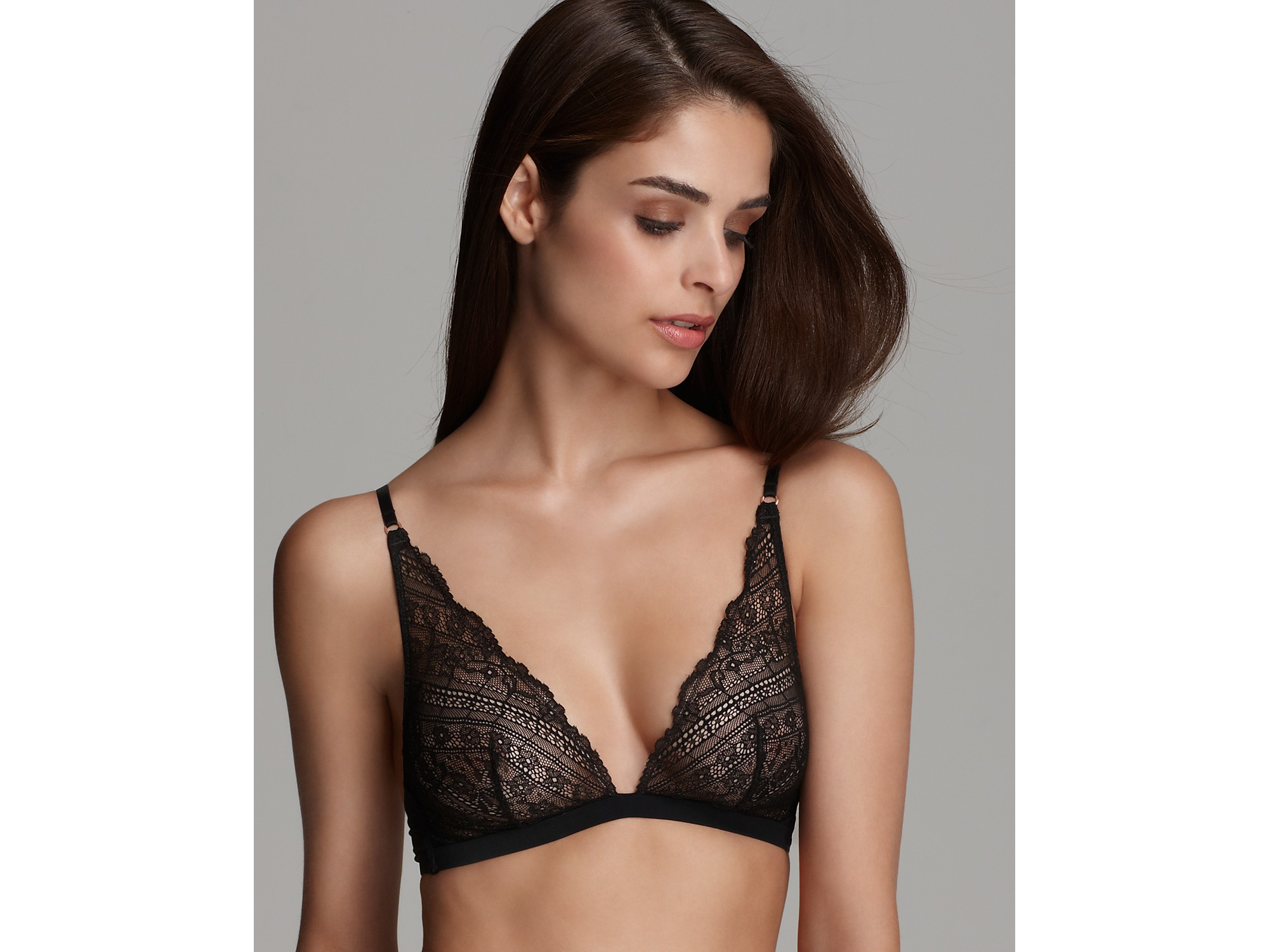 ede9976ca2c Lyst - Calvin Klein Underwear Envy Lace Triangle Bra in Black