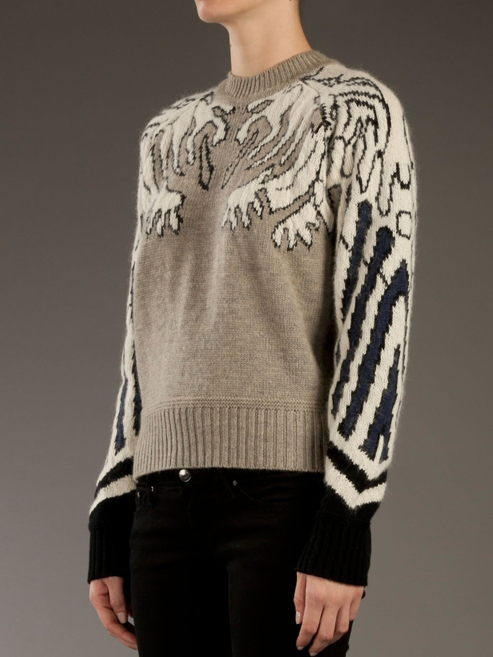 Carven Gargoyle Jacquard Sweater in Taupe (Brown)