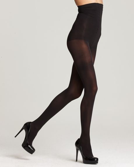 dkny tights basic opaque coverage high waist 412hi in black chocolate brown lyst. Black Bedroom Furniture Sets. Home Design Ideas