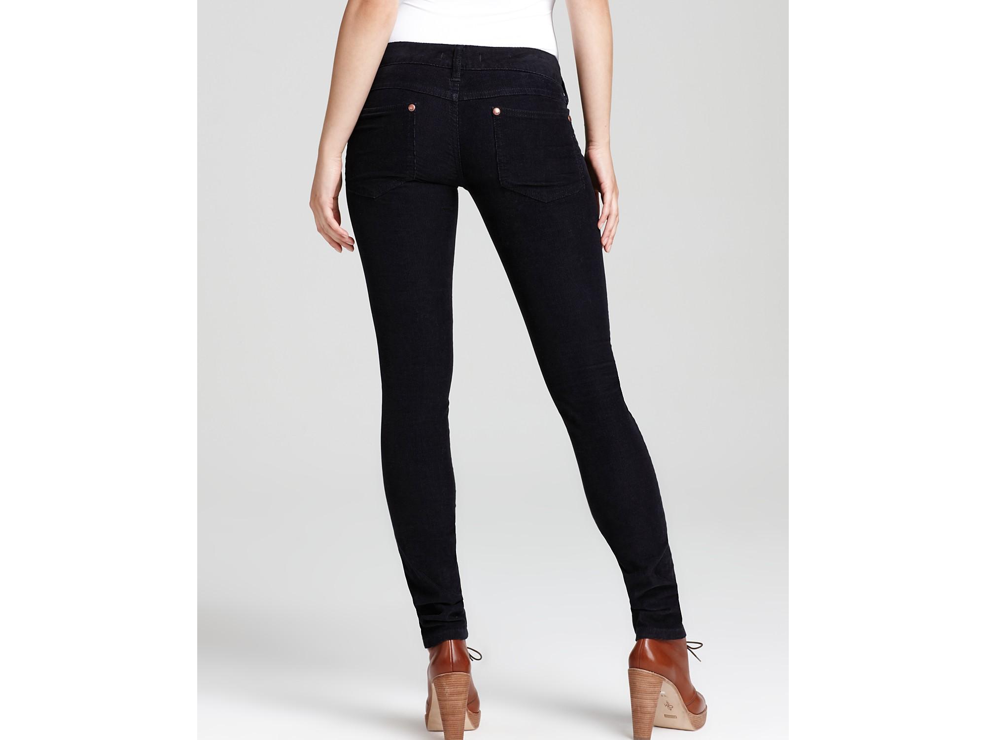 Free people Skinny Twisted Corduroy Pants in Black   Lyst