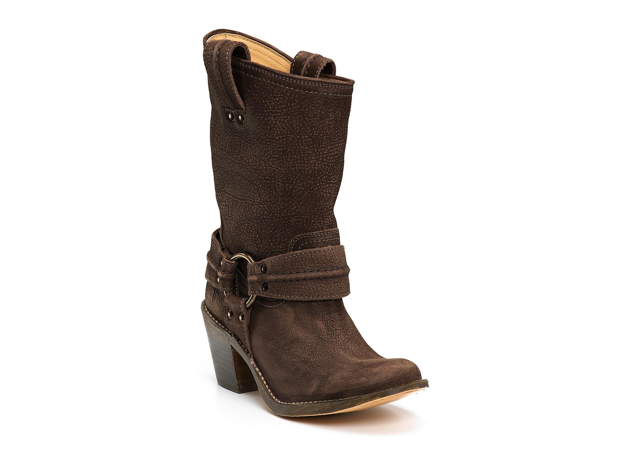 frye harness boots in black black waxy suede