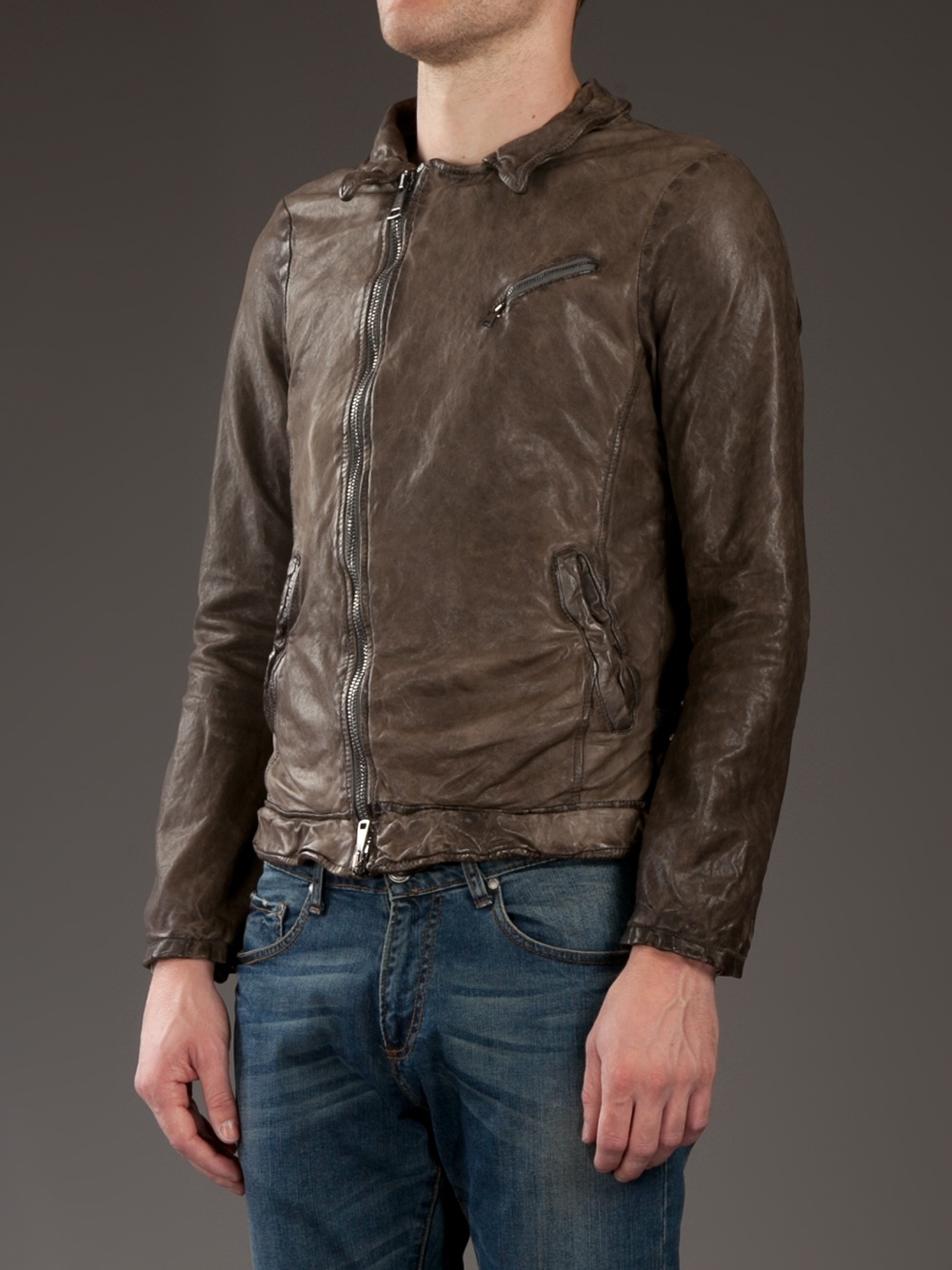 Giorgio Brato Destressed Leather Jacket in Brown for Men