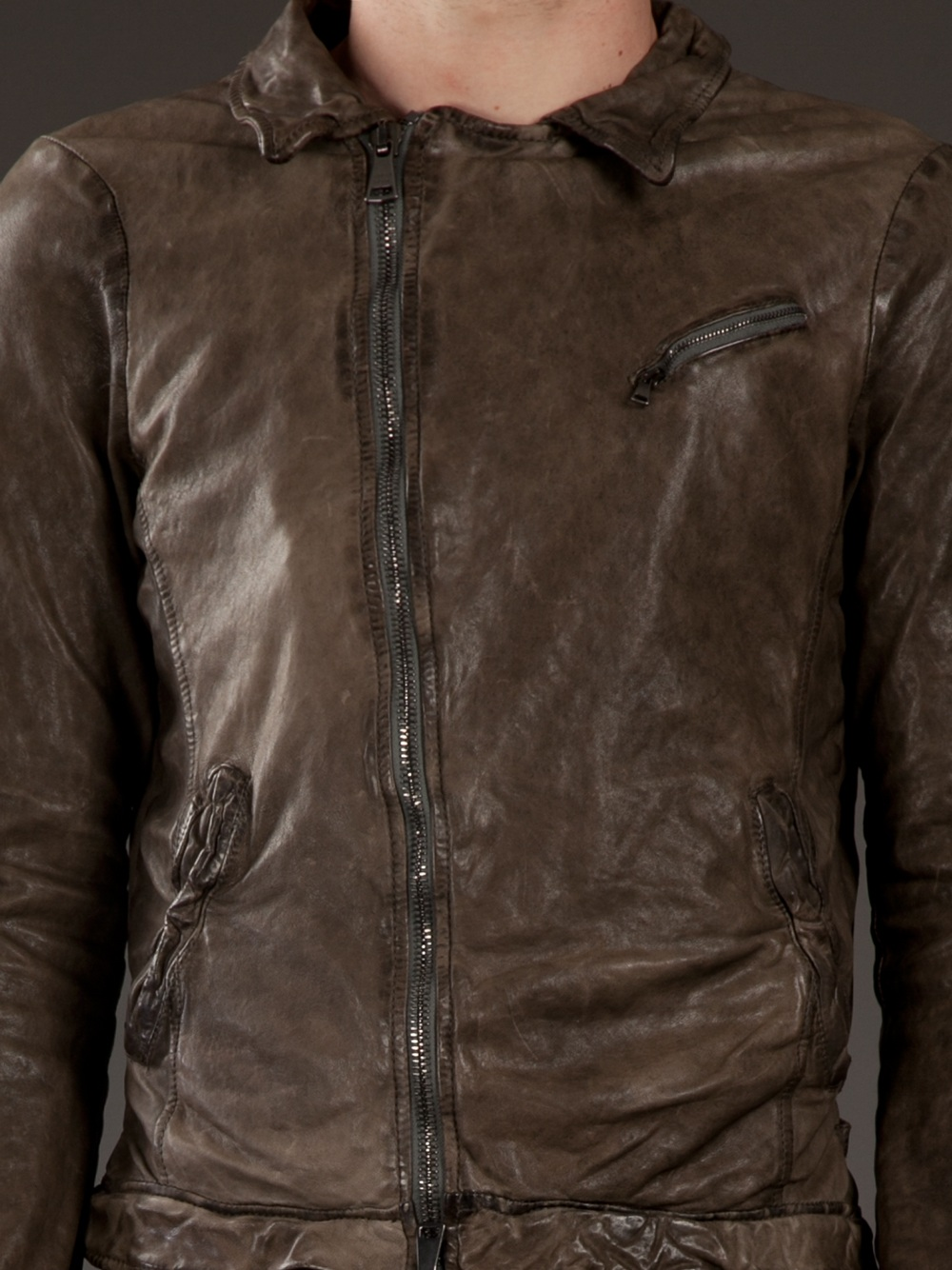 Giorgio Brato Destressed Leather Jacket In Brown For Men