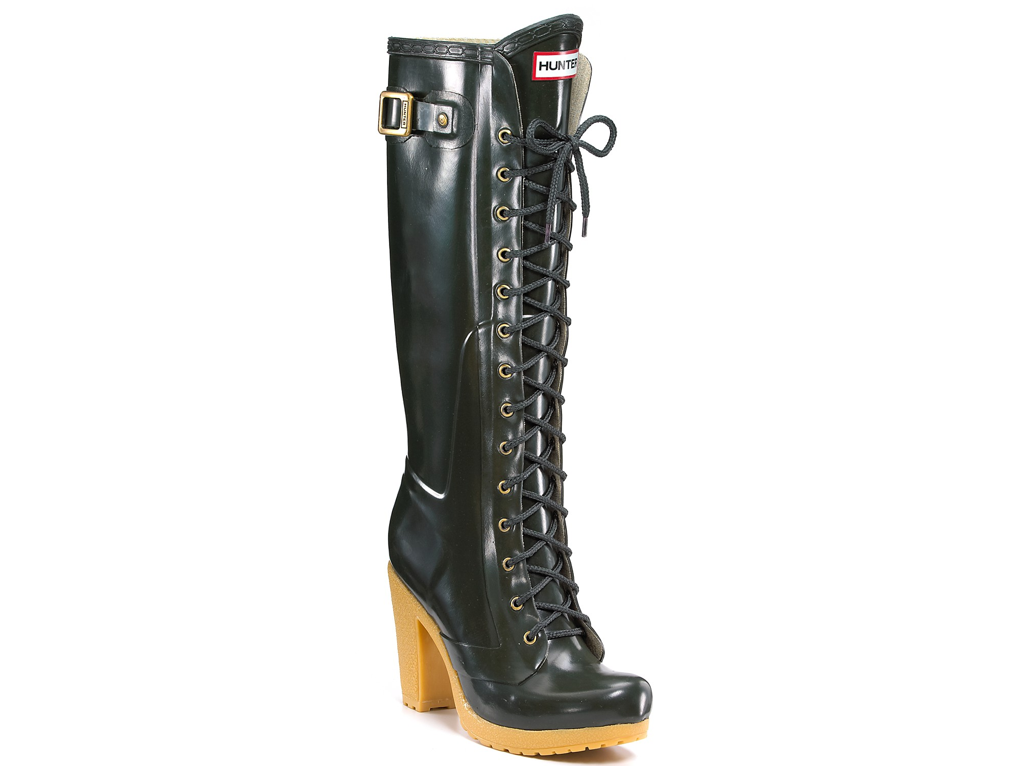 78a978ebaba Lyst - HUNTER Hunter Lapins Lace-up Knee-high Rain Boots in Black