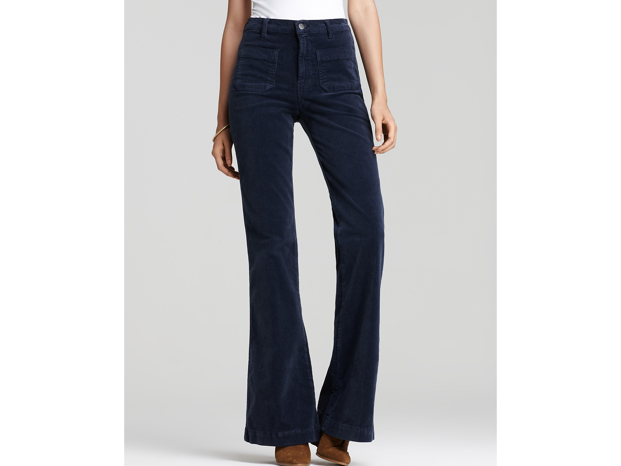 J brand Ali High Rise Wide Leg Corduroy Pants in Blue | Lyst