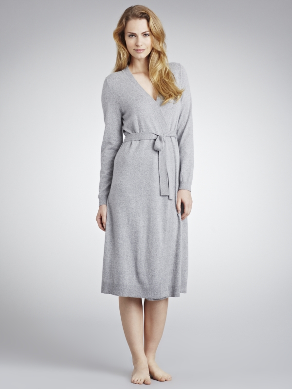 John Lewis Cashmere Dressing Gown In Gray Lyst
