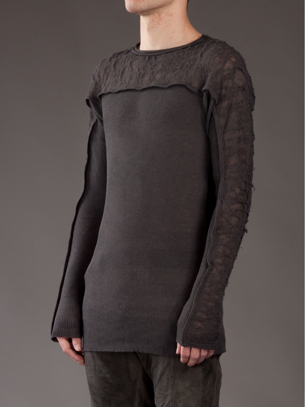 Julius Distressed Jumper In Gray For Men Lyst