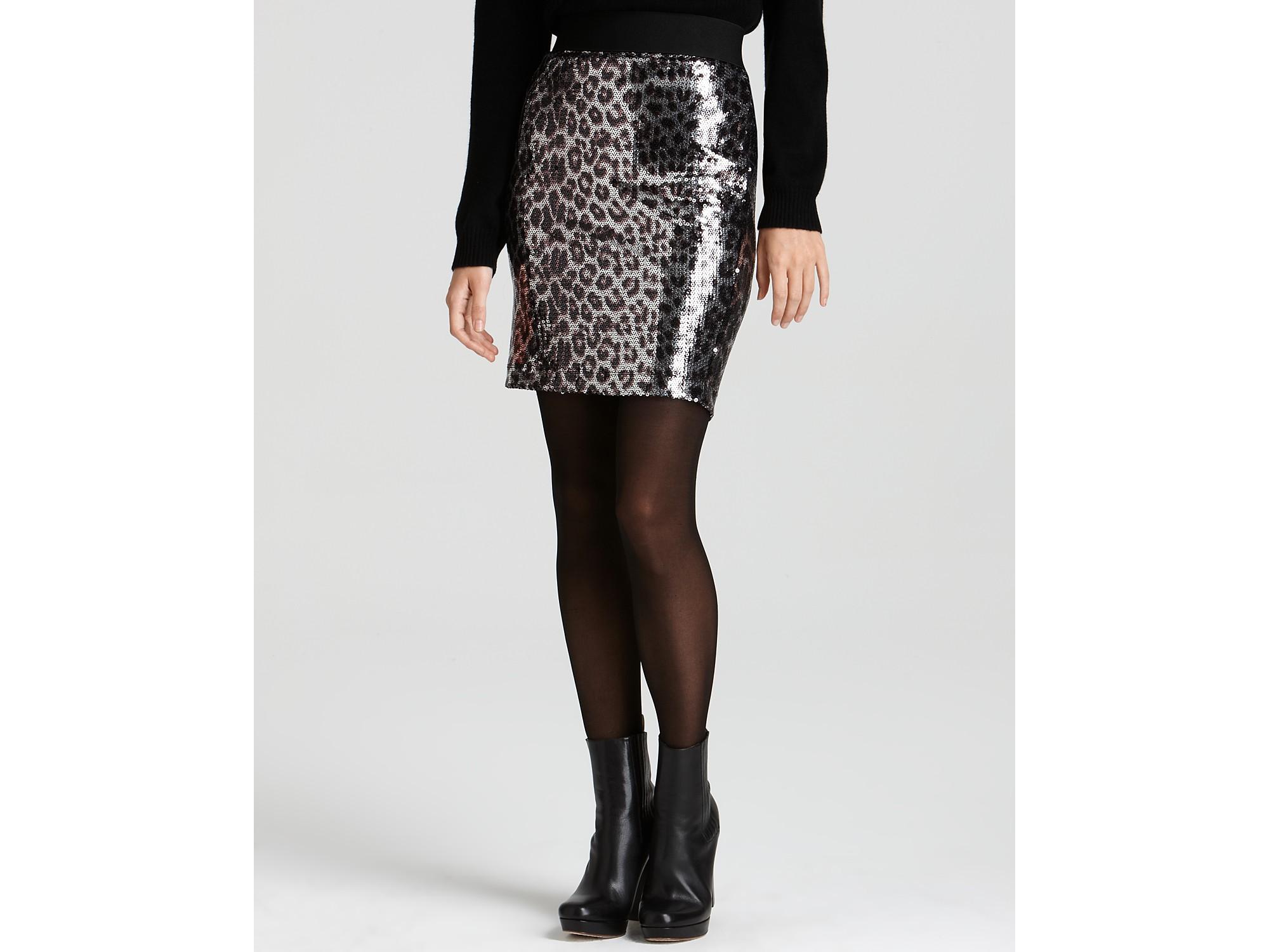leopard sequin pencil skirt in silver cheetah