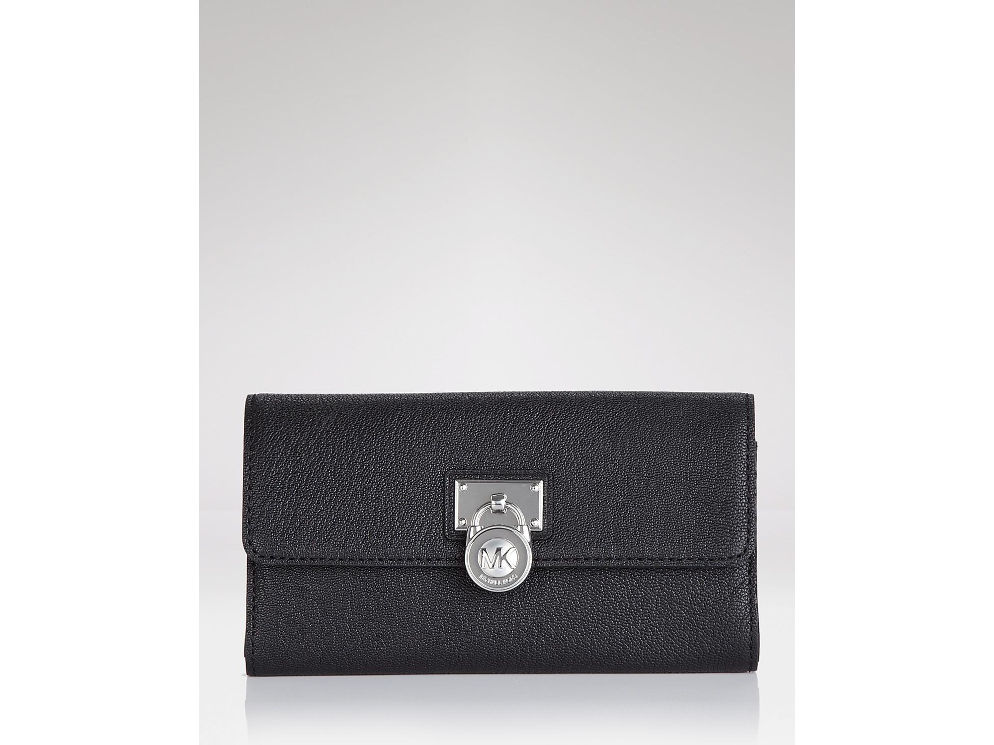 michael michael kors hamilton large flap wallet in black. Black Bedroom Furniture Sets. Home Design Ideas
