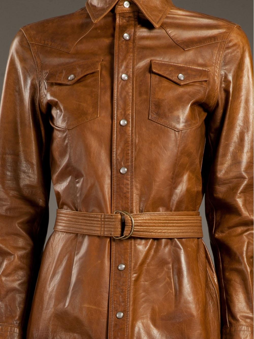 Ralph Lauren Leather Shirt Dress In Brown Lyst