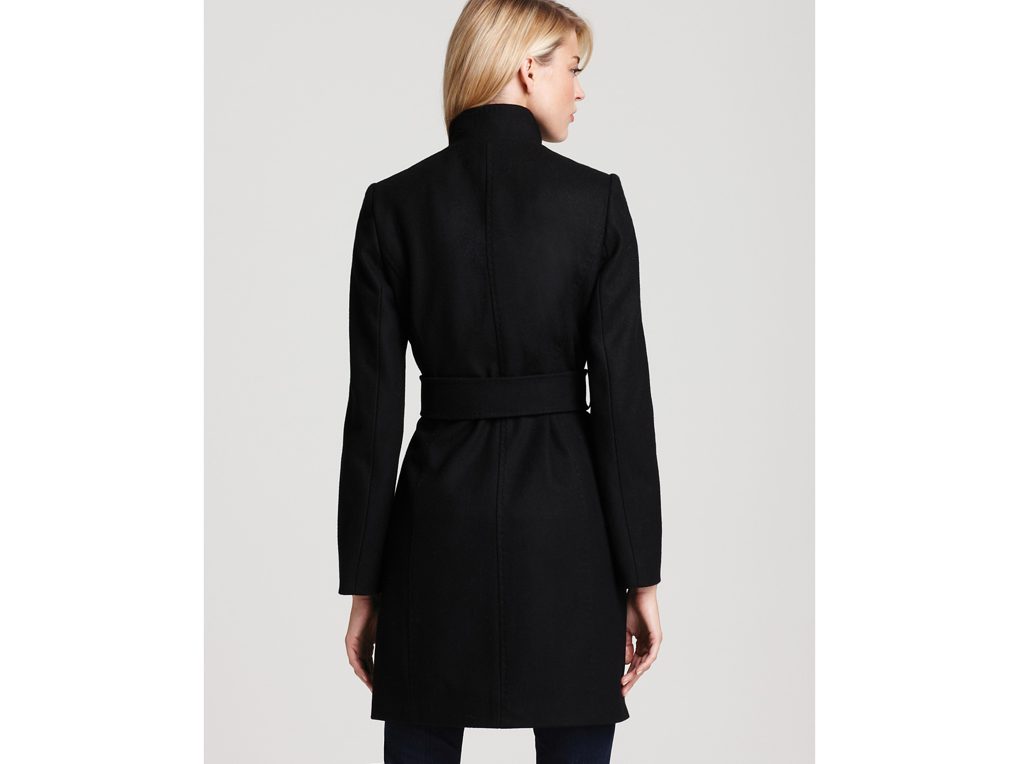 Via Spiga Maria Stand Collar Coat With Leather Tabs In