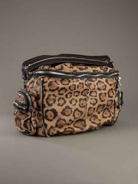 Alexander Wang Jane Leopard Print Leather Shoulder Bag In