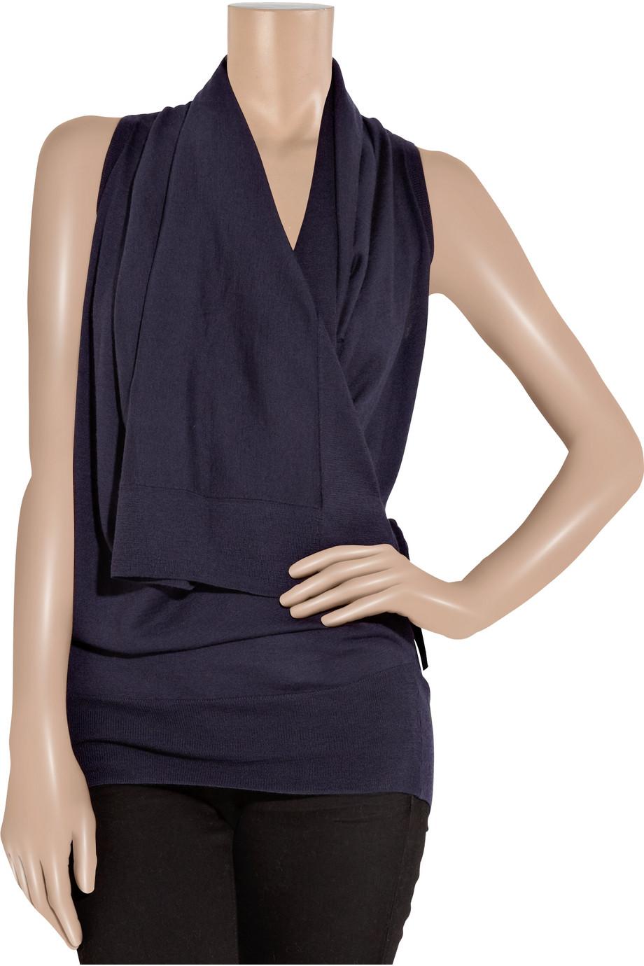lyst donna karan cashmere and silk blend wrap effect top. Black Bedroom Furniture Sets. Home Design Ideas