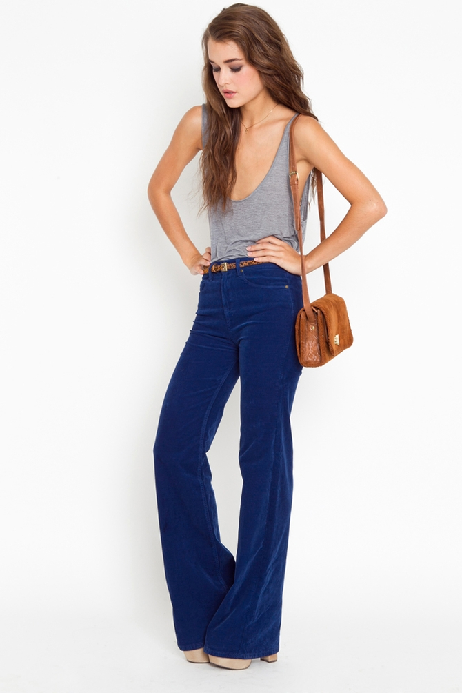 Nasty gal Corduroy Flare Jeans in Blue | Lyst