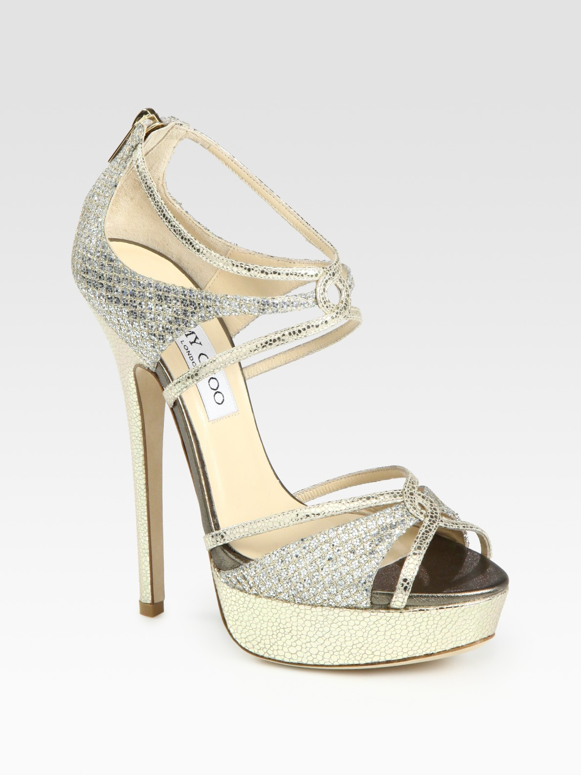 bb608463914 Jimmy Choo Sierra Glitter-coated Snake-print Leather Platform ...