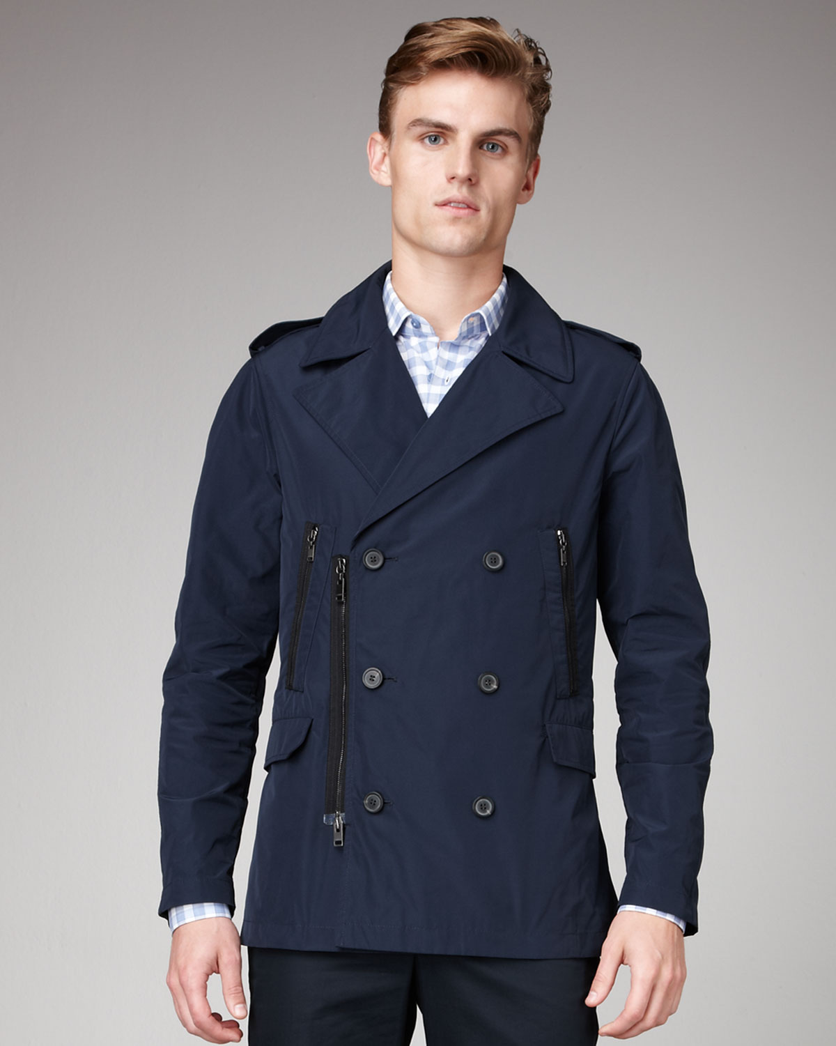 Lanvin Zip-Detail Pea Coat in Blue for Men | Lyst