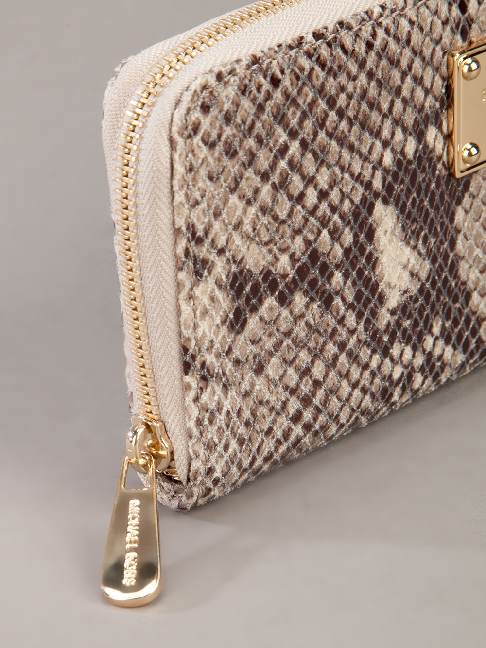 michael kors snakeskin print purse in gray lyst