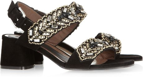 Marni Embellished Suede Sandals in Black