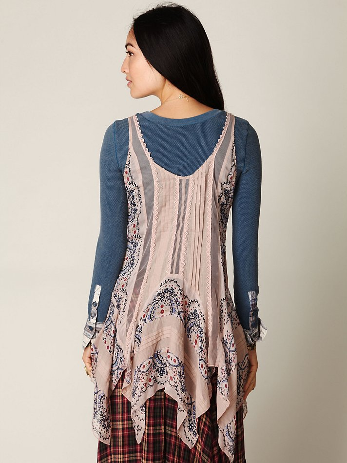 62587903266 Free People Fp One Border Print Tunic in Gray - Lyst