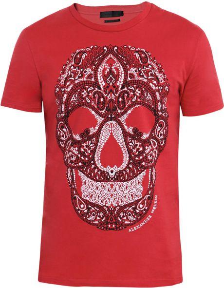 alexander mcqueen bandana skull t shirt in red for men. Black Bedroom Furniture Sets. Home Design Ideas