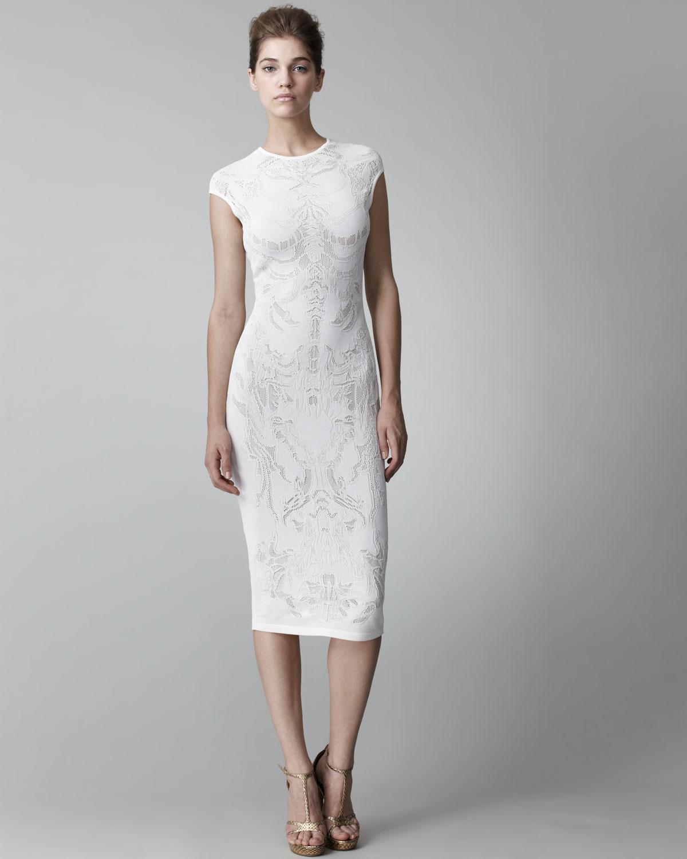 Alexander mcqueen Lace-pattern Sheath Dress in White | Lyst