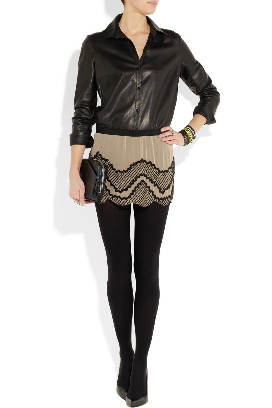Haute Hippie Beaded Silk-Chiffon Mini Skirt In Beige Nude -5929