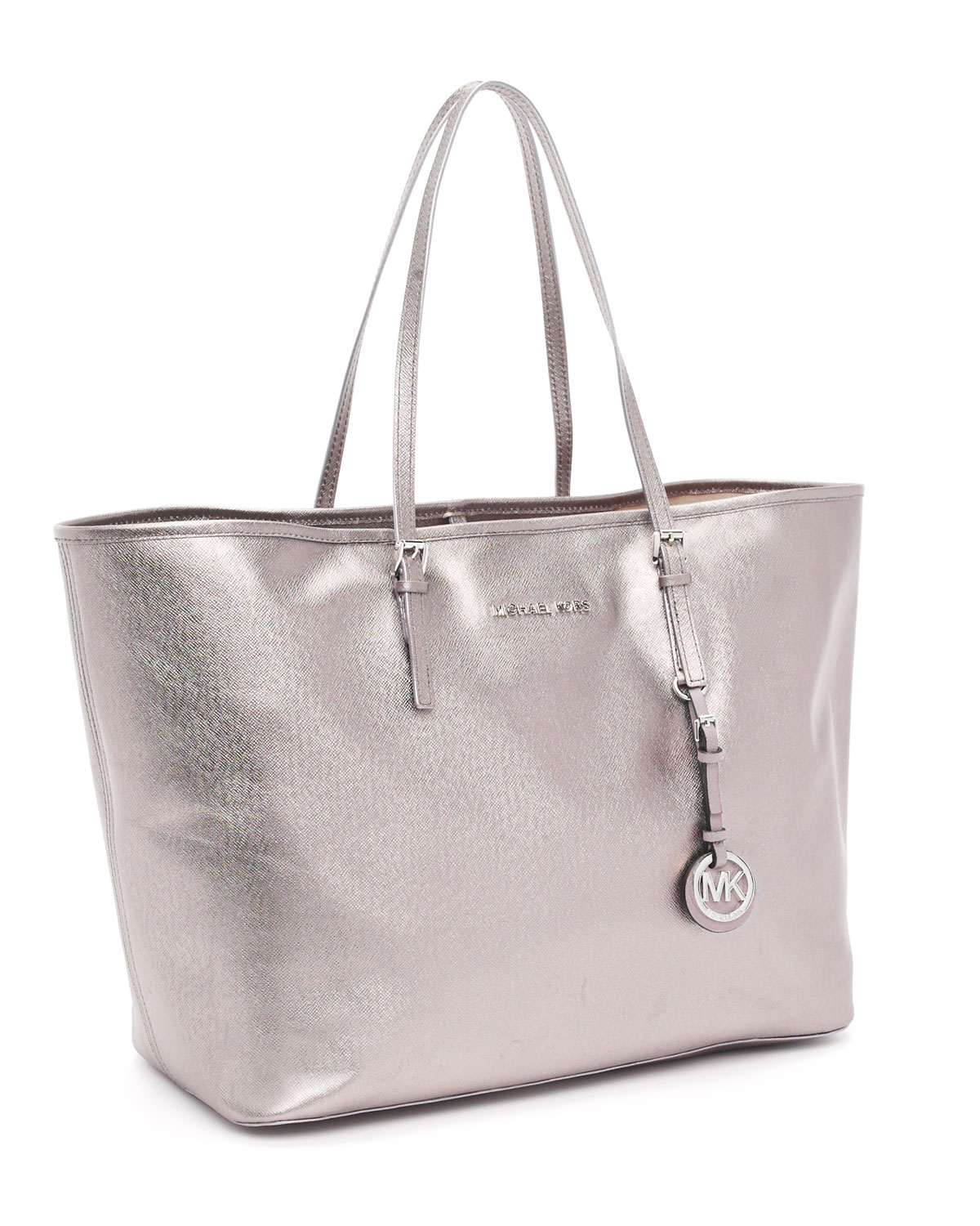 f28792fe84af ... usa lyst michael michael kors medium jet set travel tote in metallic  8fcf2 8e35d