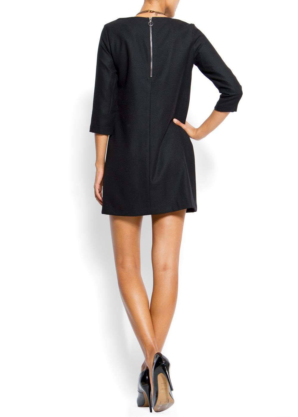 Lyst Mango Straight Cut Dress In Black