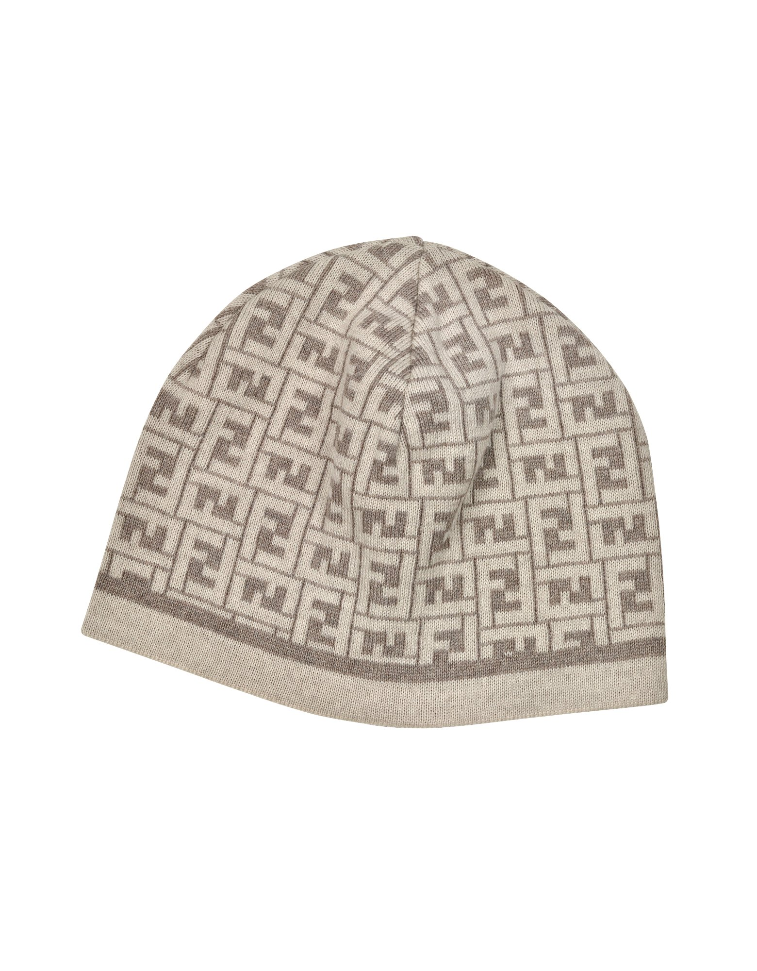 2c4325c0fb9 Lyst - Fendi All Over Zucca Logo Knit Wool Skull Cap in Brown