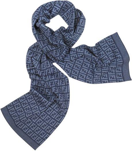 fendi all zucca logo wool scarf in blue beige lyst