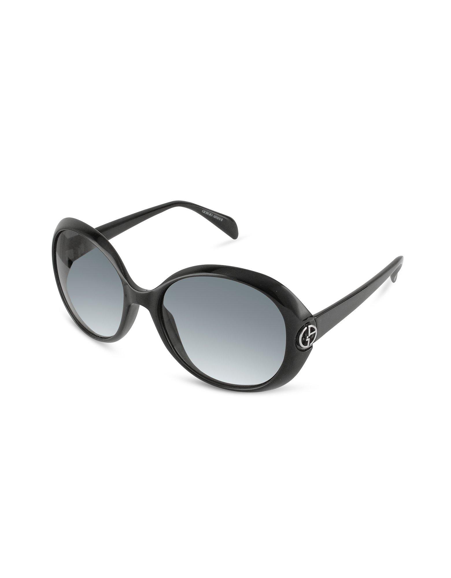 Giorgio armani Logo Round Sunglasses in Black | Lyst