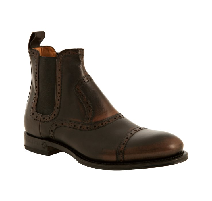 gucci tooled leather cambridge boots in brown lyst
