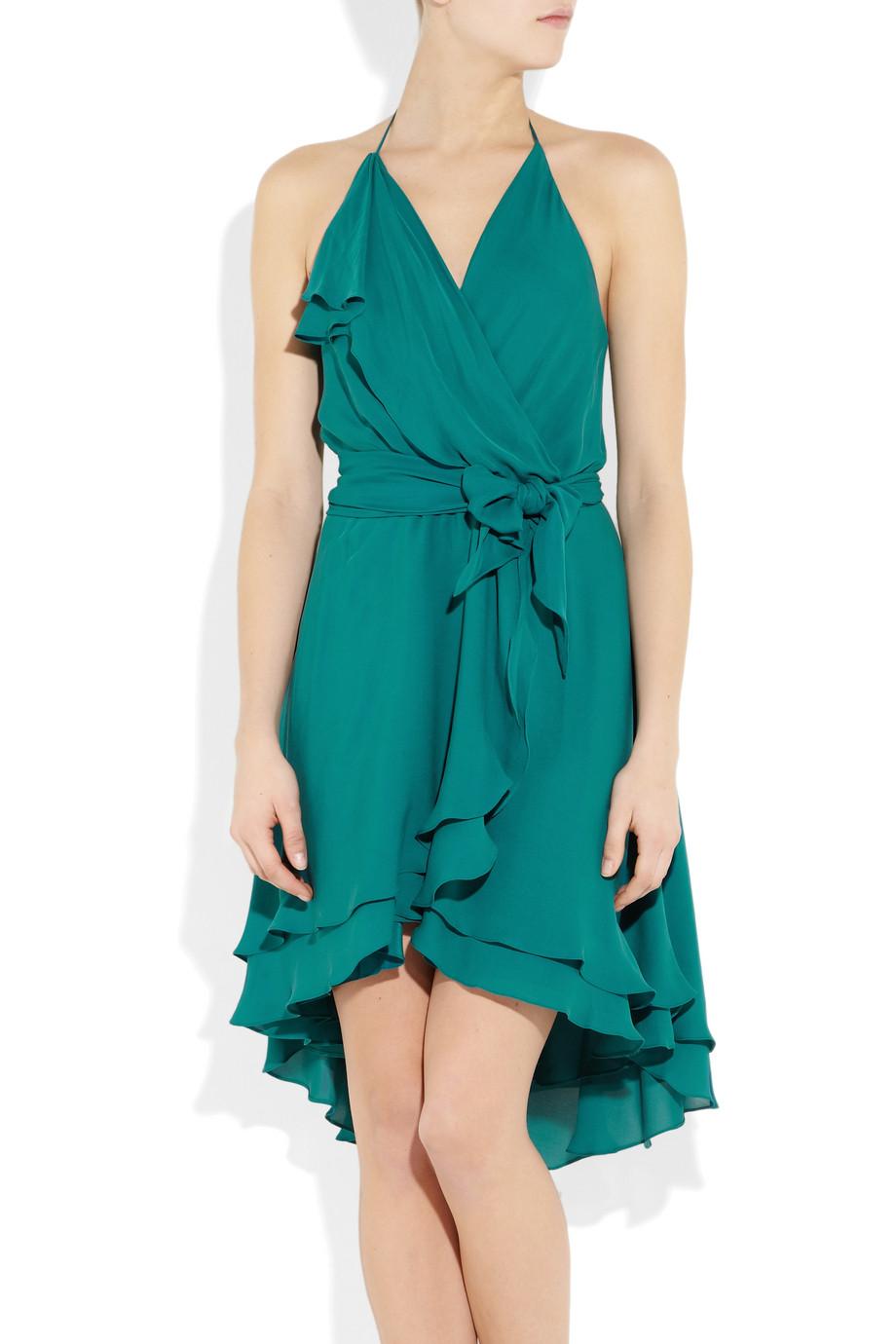 Haute Hippie Brushed Silk Georgette Wrap Effect Dress In