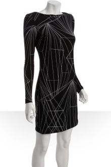 Black Jersey Dress on Black Lace Dress On Miller Black Black Linear Print Stretch Jersey