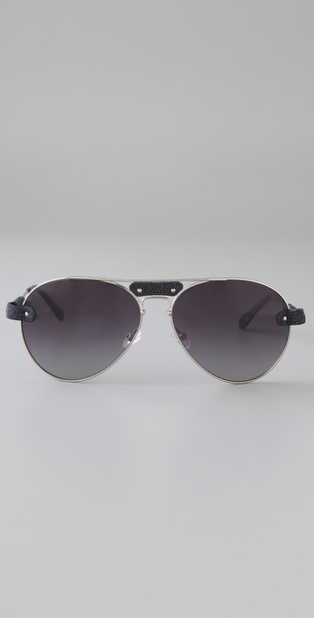 78cd7a17d1ed Lyst - Chloé Oversized Tamaris Aviator Sunglasses with Leather Trim ...