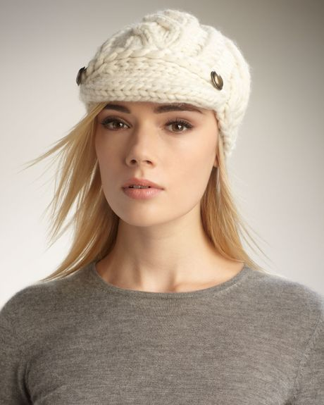 Eugenia Kim Scarlett Cable-knit Cap in White